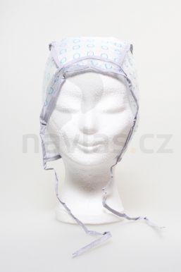 Melírovacia čiapka plast s potlačou (modrý krúžok) zaväzovacia 1ks