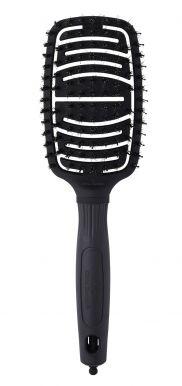 Olivia Garden Paddle Brush Flex Combo Black Label - Duálně zaoblený plochý kartáč na vlasy