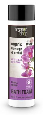 Organic Shop Bath Foam Clay Sage & Orchid 500ml - Antistresová pena do kúpeľa