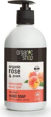 Organic Shop Nourising Hand Soap Rose & Peach 500ml - Výživné mydlo na ruky